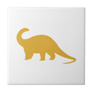Yellow Dinosaur Small Square Tile