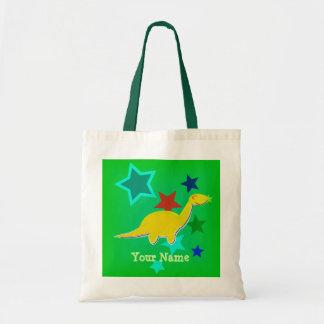 Yellow Dinosaur Stars Name Bag/ Tote Budget Tote Bag