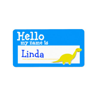 Yellow Diplodocus Hello My Name is Badge Blue Label