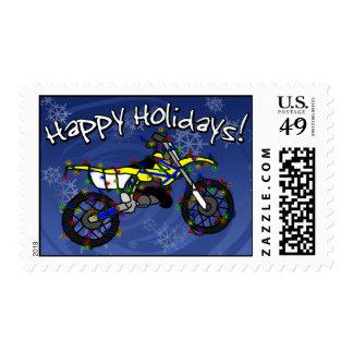 Yellow Dirt Bike Christmas Postage