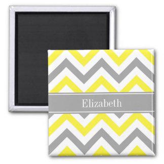 Yellow Dk Gray White LG Chevron Gray Name Monogram 2 Inch Square Magnet