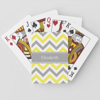 Yellow Dk Gray White LG Chevron Gray Name Monogram Card Decks
