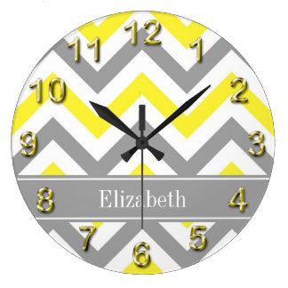Yellow Dk Gray White LG Chevron Gray Name Monogram Wall Clock
