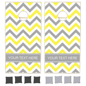 Yellow Dk Gray White LG Chevron Gray Name Monogram Cornhole Sets