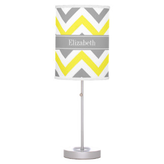 Yellow Dk Gray White LG Chevron Gray Name Monogram Desk Lamp