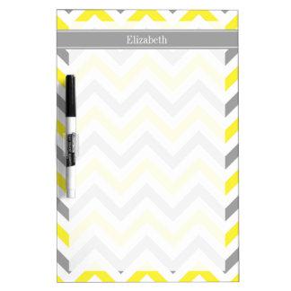 Yellow Dk Gray White LG Chevron Gray Name Monogram Dry-Erase Board