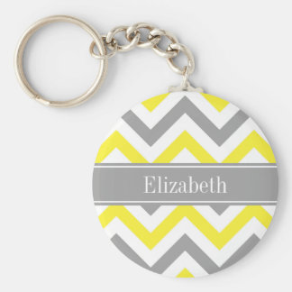 Yellow Dk Gray White LG Chevron Gray Name Monogram Keychain