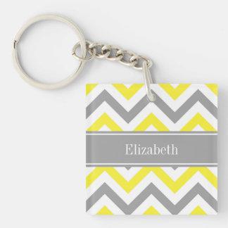 Yellow Dk Gray White LG Chevron Gray Name Monogram Keychain