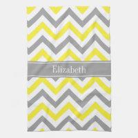 Yellow Dk Gray White LG Chevron Gray Name Monogram Kitchen Towel