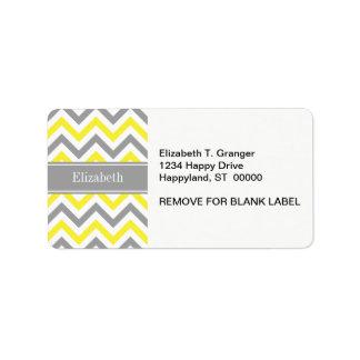 Yellow Dk Gray White LG Chevron Gray Name Monogram Label