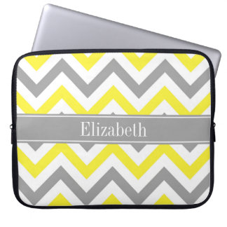Yellow Dk Gray White LG Chevron Gray Name Monogram Laptop Sleeve