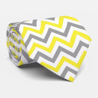 Yellow Dk Gray White LG Chevron Gray Name Monogram Neck Tie