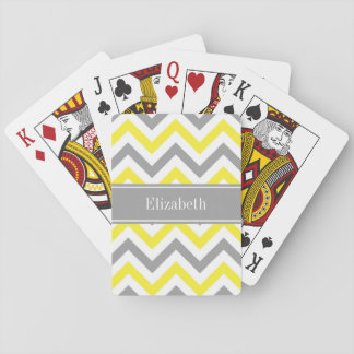 Yellow Dk Gray White LG Chevron Gray Name Monogram Playing Cards