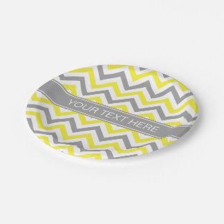 Yellow Dk Gray White LG Chevron Gray Name Monogram 7 Inch Paper Plate