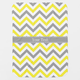 Yellow Dk Gray White LG Chevron Gray Name Monogram Stroller Blanket