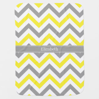 Yellow Dk Gray White LG Chevron Gray Name Monogram Swaddle Blanket