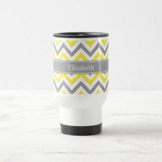 Yellow Dk Gray White LG Chevron Gray Name Monogram Travel Mug