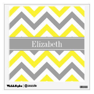 Yellow Dk Gray White LG Chevron Gray Name Monogram Wall Sticker