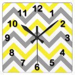 Yellow, Dk Gray Wht Large Chevron ZigZag Pattern Square Wall Clocks