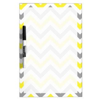 Yellow, Dk Gray Wht Large Chevron ZigZag Pattern Dry-Erase Whiteboard
