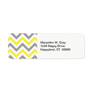 Yellow, Dk Gray Wht Large Chevron ZigZag Pattern Label