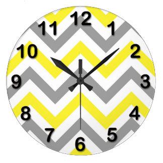 Yellow, Dk Gray Wht Large Chevron ZigZag Pattern Large Clock
