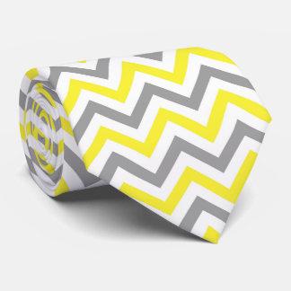 Yellow, Dk Gray Wht Large Chevron ZigZag Pattern Neck Tie