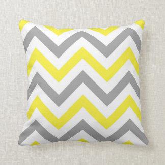 Yellow, Dk Gray Wht Large Chevron ZigZag Pattern Pillow