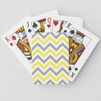 Yellow, Dk Gray Wht Large Chevron ZigZag Pattern Playing Cards