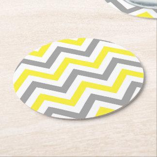 Yellow, Dk Gray Wht Large Chevron ZigZag Pattern Round Paper Coaster