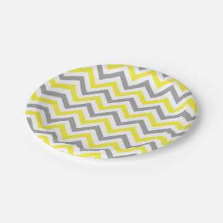 Yellow, Dk Gray Wht Large Chevron ZigZag Pattern 7 Inch Paper Plate