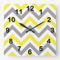 Yellow, Dk Gray Wht Large Chevron ZigZag Pattern Square Wall Clock
