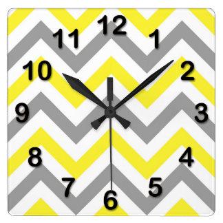 Yellow, Dk Gray Wht Large Chevron ZigZag Pattern Square Wall Clock