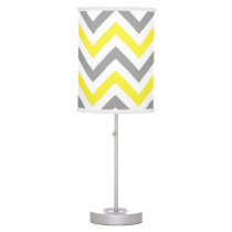Yellow, Dk Gray Wht Large Chevron ZigZag Pattern Table Lamp