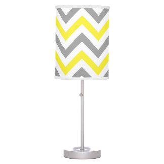 Yellow, Dk Gray Wht Large Chevron ZigZag Pattern Table Lamp