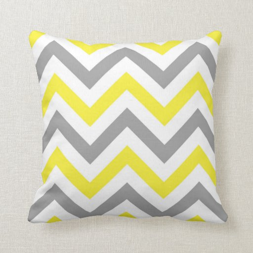 Yellow, Dk Gray Wht Large Chevron ZigZag Pattern Throw Pillow Zazzle