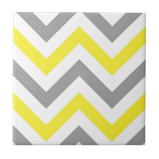 Yellow, Dk Gray Wht Large Chevron ZigZag Pattern Tile