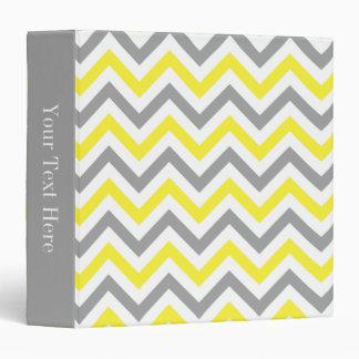 Yellow, Dk Gray Wht Large Chevron ZigZag Pattern Vinyl Binder