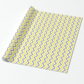 Yellow, Dk Gray Wht Large Chevron ZigZag Pattern Wrapping Paper