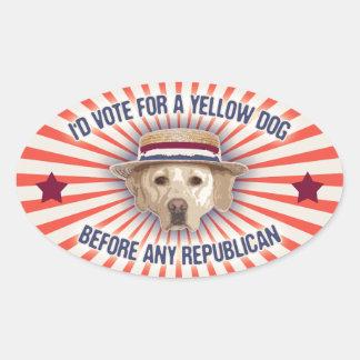 Yellow Dog II Oval Sticker