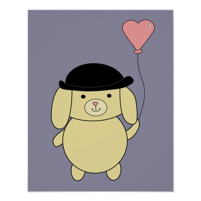 Yellow Dog in Bowler Hat with Pink Heart Balloon