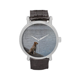 Yellow Dog on dock Wristwatch