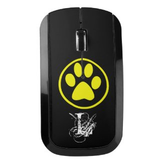 Yellow dog paw and letter monogram