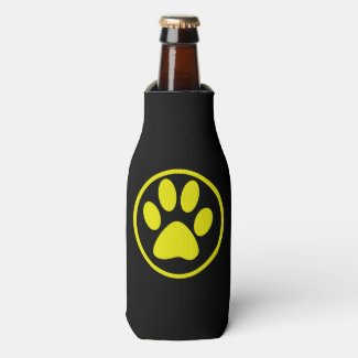 Yellow Dog Paw Design Dog Lover Bottle Cooler