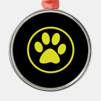 Yellow Dog Paw Dog Lover Metal Ornament