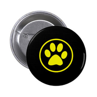 Yellow Dog Paw Dog Lover Pinback Button