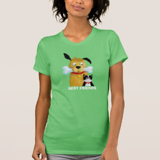 Yellow Dog with Bone and Cat - T-shirt