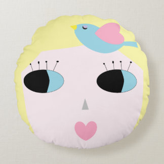 Yellow Doll Face Accent Pillow