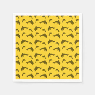 Yellow dolphin pattern disposable napkins