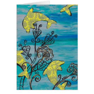 Yellow Dolphins Card